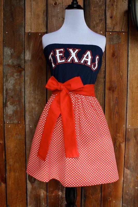 Texas Rangers Baseball Strapless Game Day Dress  by Jill Be Nimble on Etsy