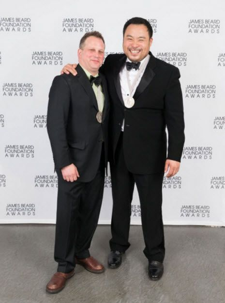 David Chang, Momofuku Noodle Bar, NYC, and Paul Kahan, Blackbird, Chicago tied for the coveted Outstanding Chef award at the 2013 James Beard Awards