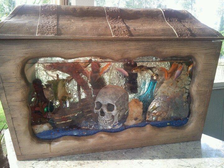 Treasure chest aquarium pirate chest fish tank so long for Fish tank treasure chest