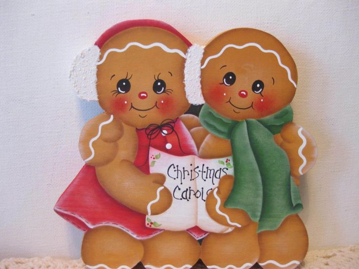 HP Gingerbread Christmas Carols gingers shelf Sitter hand painted USA