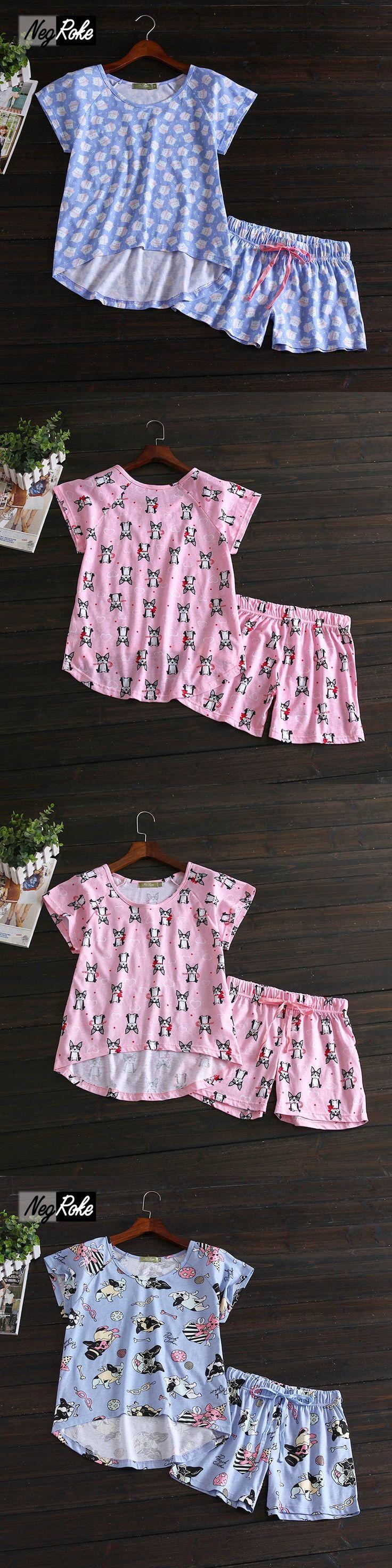 New Summer short sleeves shorts women Cute Simple  100% cotton women pajama sets homewear for ladies sleepwear pyjamas women