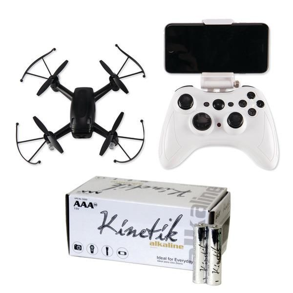 Cobra Rc Toys 909316 Fpv Wifi Drone With Hd Camera & Kinetic 50 Pk Aaa