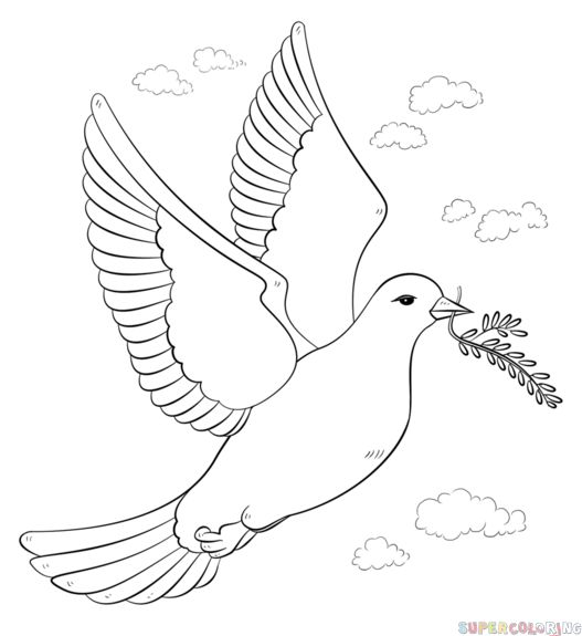 How to draw a peace dove with olive branch step by step. Drawing tutorials for kids and beginners.