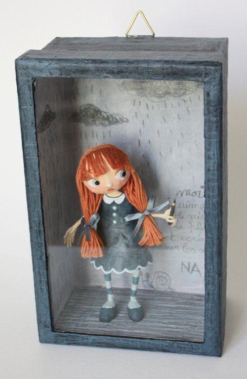 paper mache doll in shadow box very cute idea