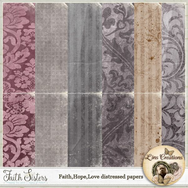 Faith.Hope.Love Distressed papers