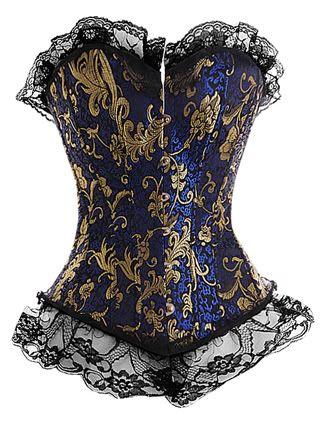 Victorian Blue - Corsé victoriano en azul y color oro