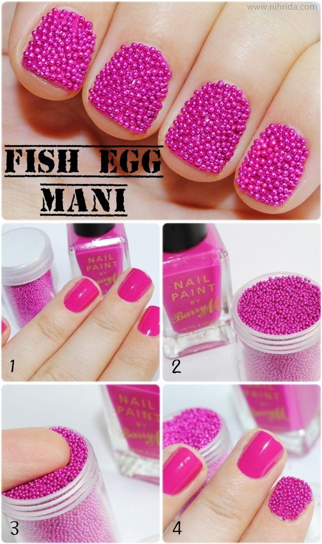 Fish egg (aka caviar) manicure.  from Nihrida: Caviar Nails, Nail Polish, Nailart, Egg Manicure, Tutorial, Nail Design, Nail Ideas, Nail Art
