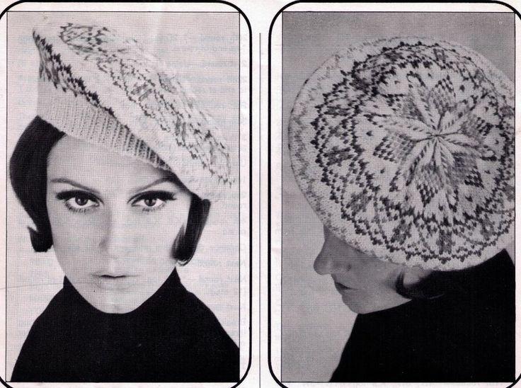 VINTAGE 1960'S WOMEN'S RETRO SCOT FAIR ISLE DIAMOND BERET 8 PLY KNITTING PATTERN