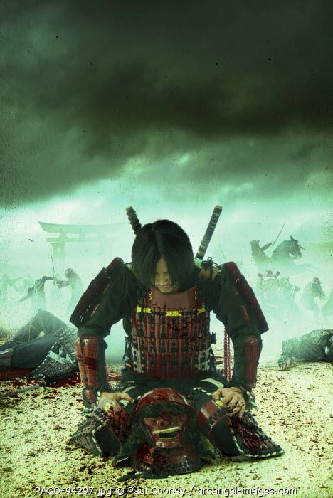 www.arcangel.com - an-atmospheric-image-of-a-kneeling-samurai