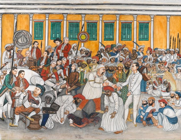 Colonel Mordaunt & Nawab Asaf al-Daula of Avadh at a Cock Fight, Company School, Patna, circa 1840, from Sothbys
