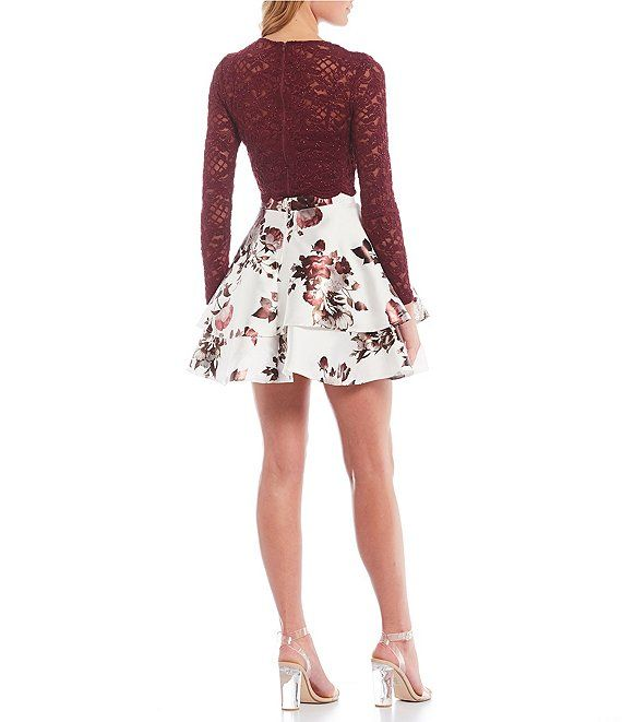 City Vibe Long-Sleeve Lace Top with Floral Skirt Two-Piece Dress 2