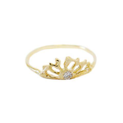 14k Sunrise Ring with Diamond