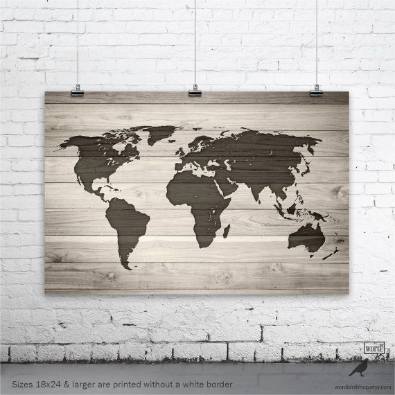 Save 10 Rustic World Map World Map on Wood Grain by WordBirdShop