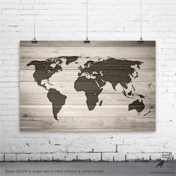 Save 10 Rustic World Map World Map on Wood Grain by WordBirdShop