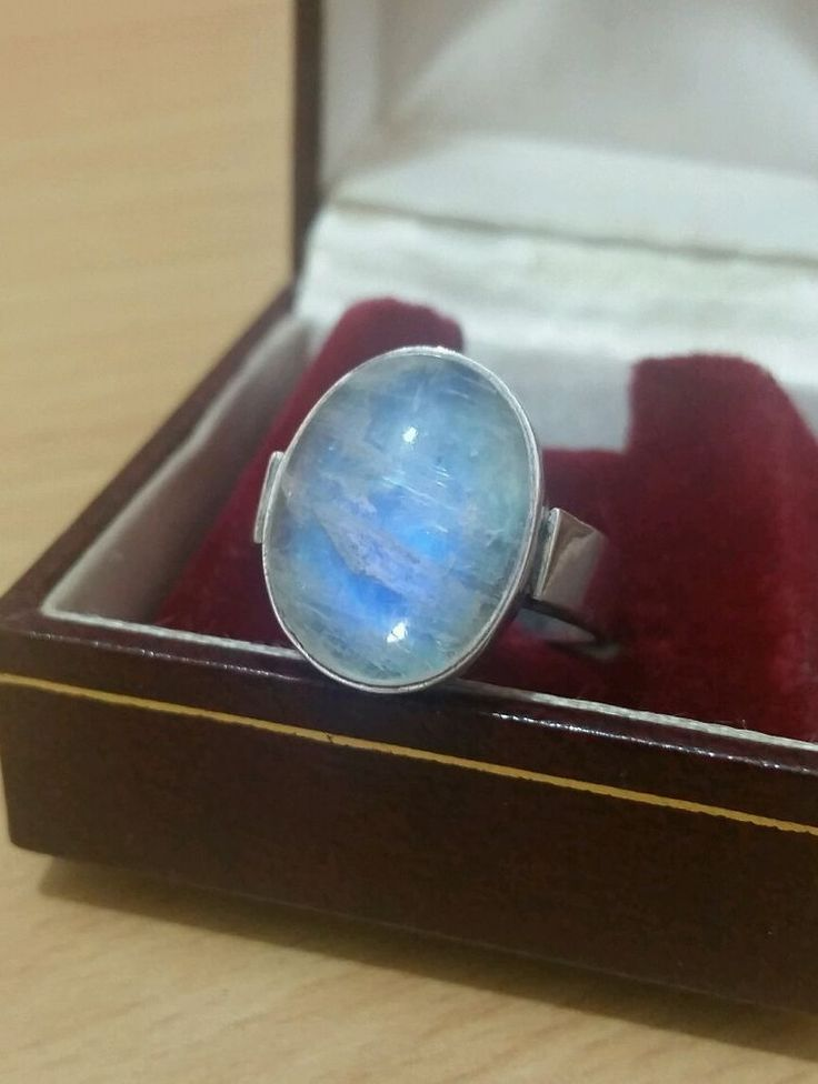 VINTAGE JEWELLERY 925 STERLING SILVER RAINBOW MOONSTONE RING SIZE Q in Jewellery & Watches, Fine Jewellery, Fine Rings | eBay
