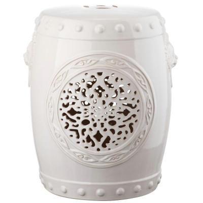 Safavieh Flower Drum Garden Cream Patio Stool - ACS4532B - The Home Depot
