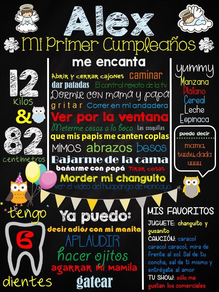 Logros y gustos de mi Alex Pizarrón de 1er Añito Cumpleaños 1 del bebé