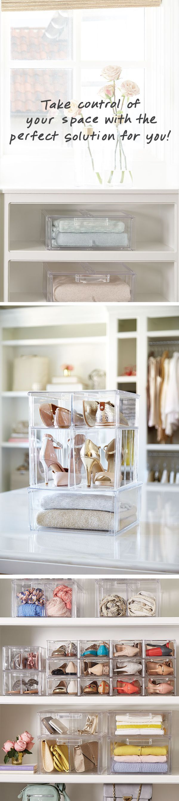 Your favorite boutique has nothing on this! Shoes, sweater and more stay organized and look amazing in our Clear Stacking Drawer Collection. The result is so pretty, you may never want to leave your closet.