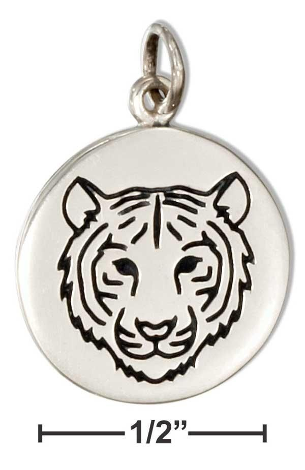 Sterling Silver Round Disk With Tiger Charm