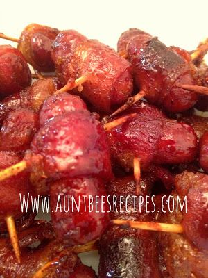 Aunt Bee's Spicy Brown Sugar Bacon Wrapped Smokies on MyRecipeMagic.com
