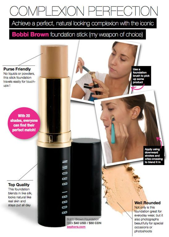 Bobbi Brown Foundation Stick...amazing! Looks like skin and can be layered