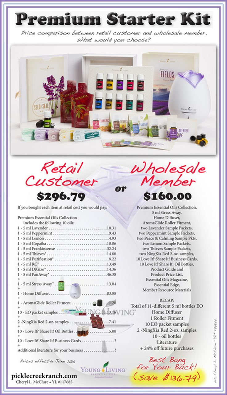 Check out the New Young Living Premium Starter Kit.  Prices effective June 2015. Contact me and I will help you get started! YL Member 1176855 www.picklecreekranch.com