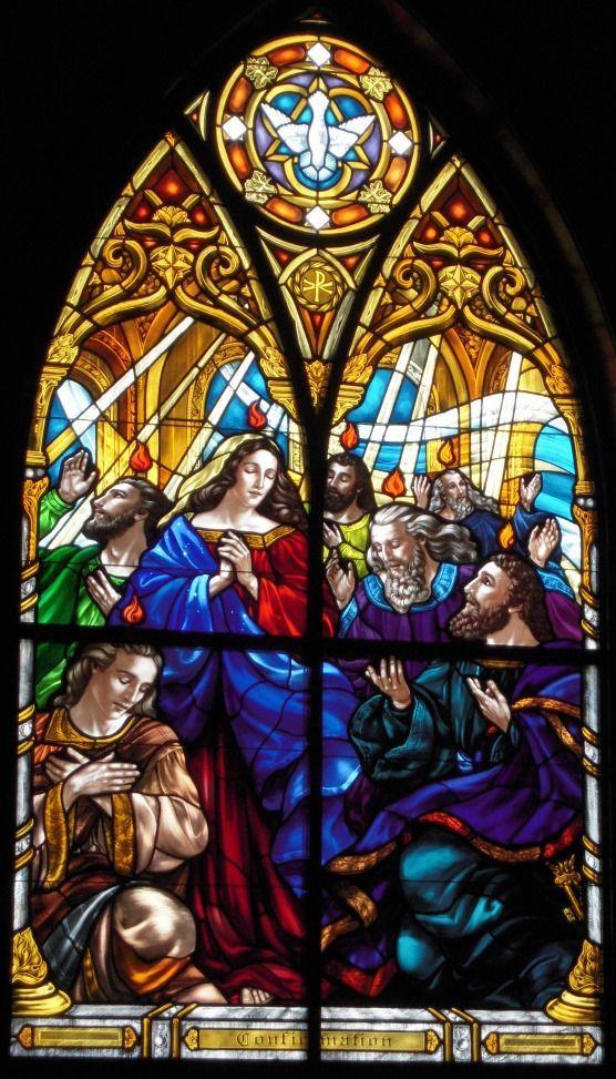 Pentecost - Gorgeous stained glass windows at Saints Anne & Joachim Catholic Church, Fargo, North Dakota
