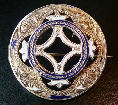Античная викторианская шотландская чистое серебро эмаль брошь булавка | eBay