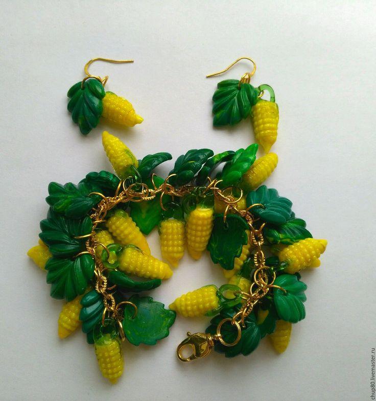 Купить Браслет и серьги КУКУРУЗКА - браслеты, Браслет ручной работы, браслет на руку, браслет в подарок