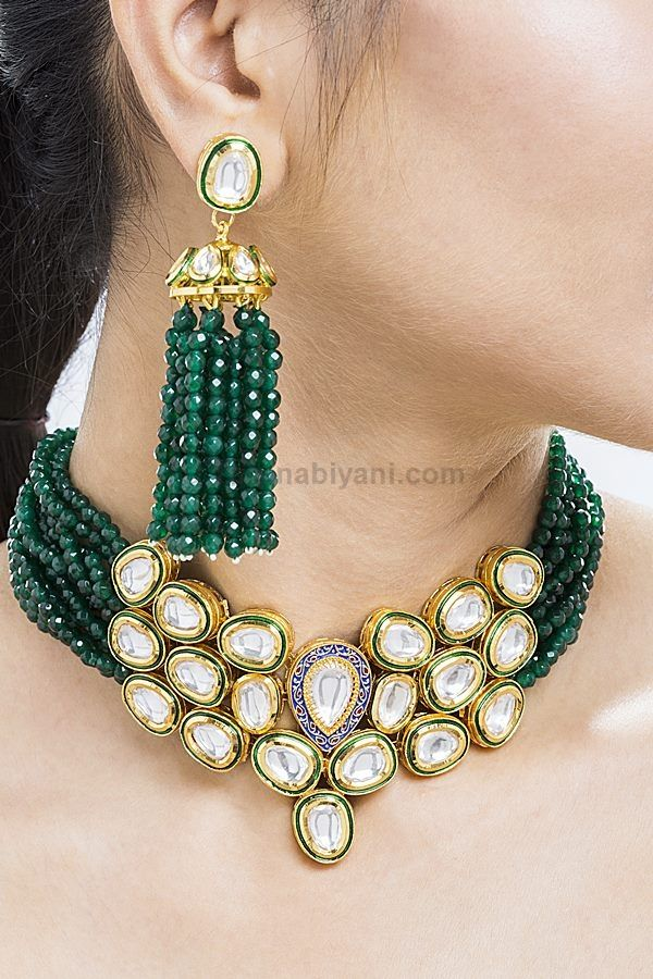 S8441 Uncut Polki, Emerald Grade Green Onyx (Faceted) in neckline Choker Style, Necklace (Length - 15 Inches), Earrings (Length - 2.4 Inches, Width - 1 Inch) 33200 (INR)