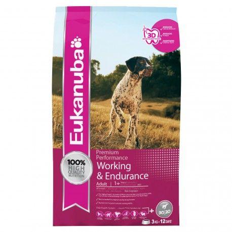Eukanuba Working & Endurance, é o alimento indicado para os cães com maiores níveis de exercício por trabalho ou provas de campo, que necessitam mais do que uma nutrição comum para manter a saúde e o máximo rendimento. O mesmo acontece em fêmes gestantes, lactante ou aqueles que tenham um peso baixo.