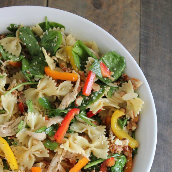 Oriental Chicken Pasta Salad is easy to make and perfect for feeding a crowd!
