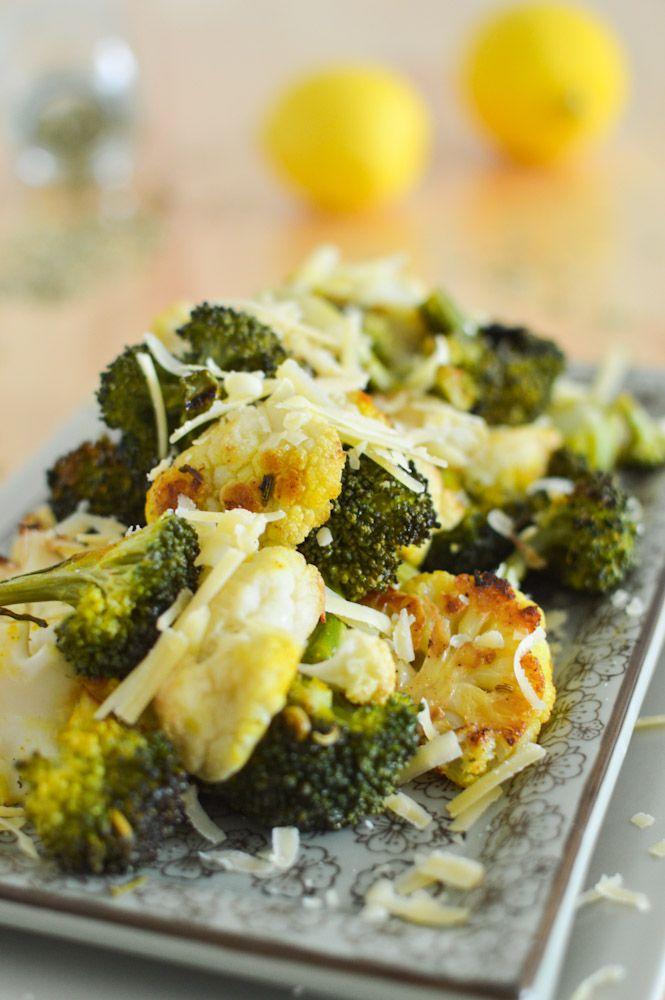 Garlic Lemon Roasted Cauliflower and Broccoli | Recipe | Roasted ...