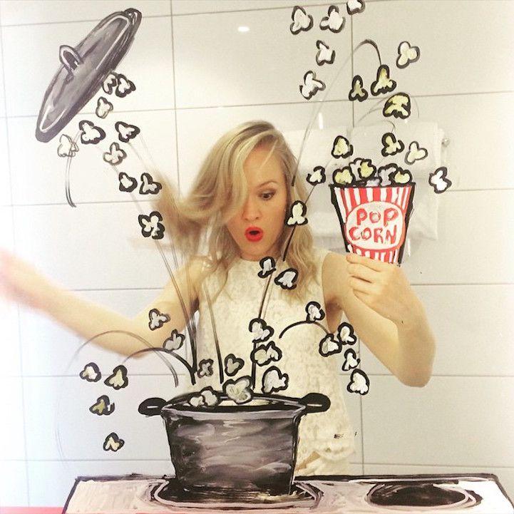 Artist Creates Doodles on Mirrors to Turn Bathroom Selfies into Imaginative Adventures