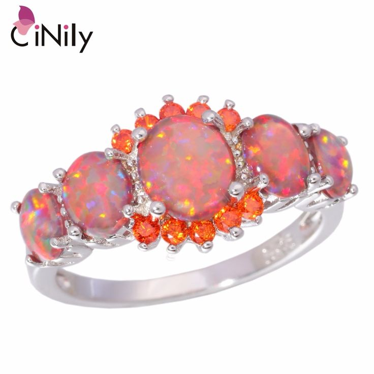 CiNily Orange Fire Opal Orange Garnet Silver Plated Ring Wholesale Wedding Party Gift for Women Jewelry Ring Size 5-12 OJ4576 //Price: $27.32 & FREE Shipping //     #hashtag2