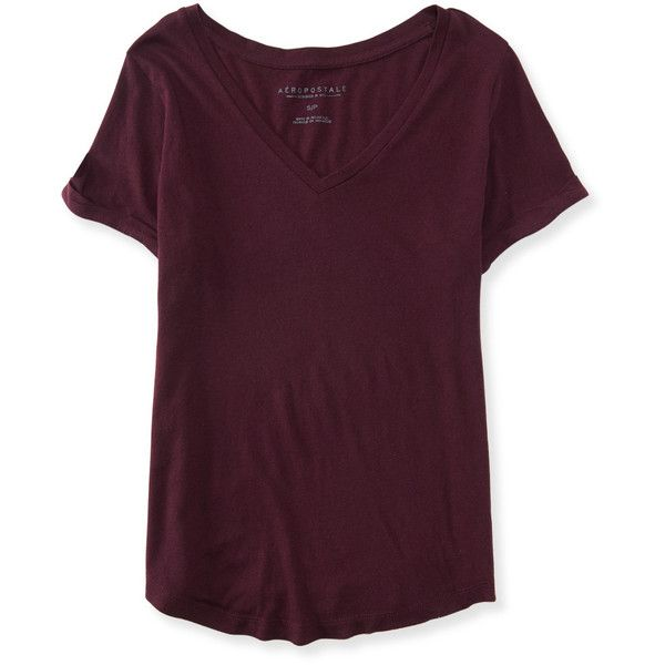 Aeropostale Solid V-Neck Cuffed Tee ($8) ❤ liked on Polyvore featuring women's fashion, tops, t-shirts, deep purple, purple tee, v-neck tops, vneck tee, purple v neck t shirt and v neck tee