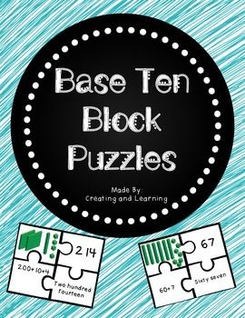 "Freebie: Base Ten Puzzles from ""Creating and Learning"". These four-piece puzzles include base ten blocks, standard form, expanded form and number-word form."