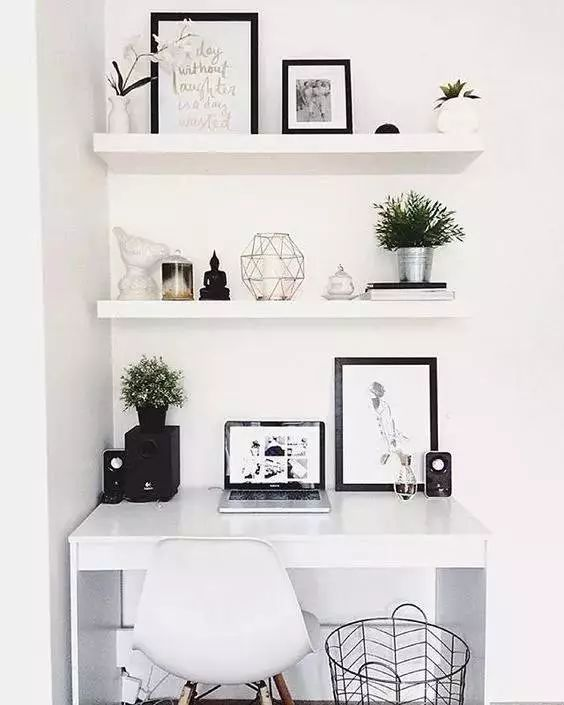 Inspiration Office Furniture Pinterest 10 Inspiring Small Home Work Spaces Nerverenewco Monochrome Office Space With Shelves Inspiration