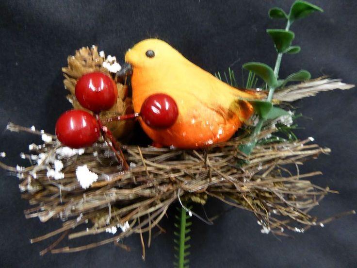 12cm Robin on Twig Nest Pick Stem Christmas Decoration Wreath Garland Making #UKGardens