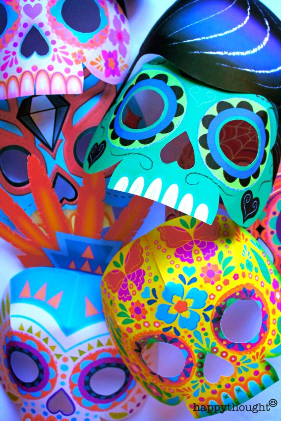 Make these wonderful printable paper 3D masks for Day of the Dead! 9 Calavera masks including La Catrina, Lucha Libre and more! https://happythought.co.uk/product/printable-calavera-skull-mask-set Sugar skull mask templates by Happythought
