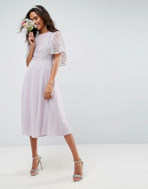 89de410f979 DESIGN delicate lace applique midi dress in 2019