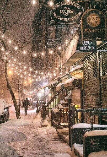 Snowy night in the East Village