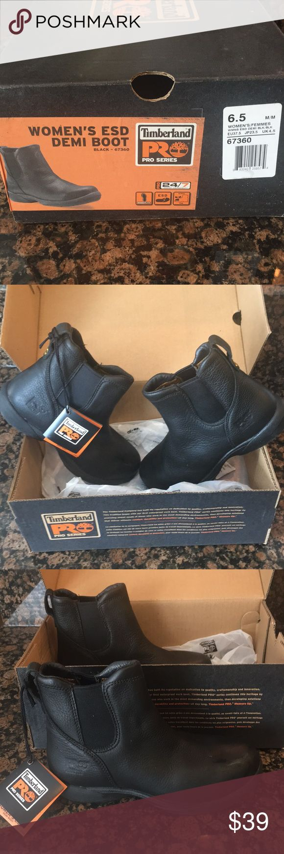 Timberland Pro Series Women's ESD Demi Boot (6.5) Timberland Pro Series Women's ESD Demi Boot (6.5) steel toe in black. Very comfortable for work or play and not too heavy. Never worn. New with tags! Timberland Shoes Combat & Moto Boots
