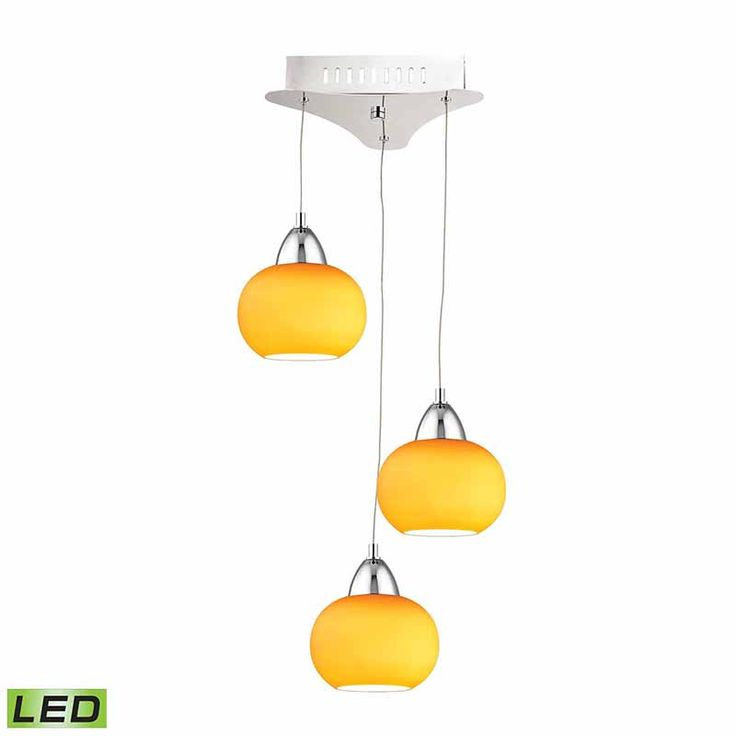 Chrome Metal Glass Yellow Shades Pendant Elk   Three Light LED Globe Pendant in Chrome with Yellow Glass Shade