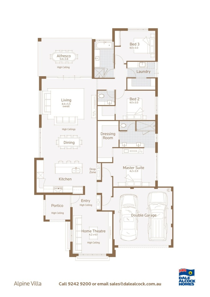 Alpine Villa Floorplan - separate toilet and bathroom - laundry storage