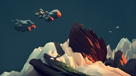 Abstract polygon mountain wallpaper 3D polygon art geometric shapes mountains rocks clouds sky minimalist low-poly  wallpapers digital illus...