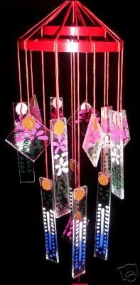 I remember my Grandmother having these wind-chimes! Recall the sounds of the past in this Japanese style glass wind chime.  Popular from the 40's thru the 70's.