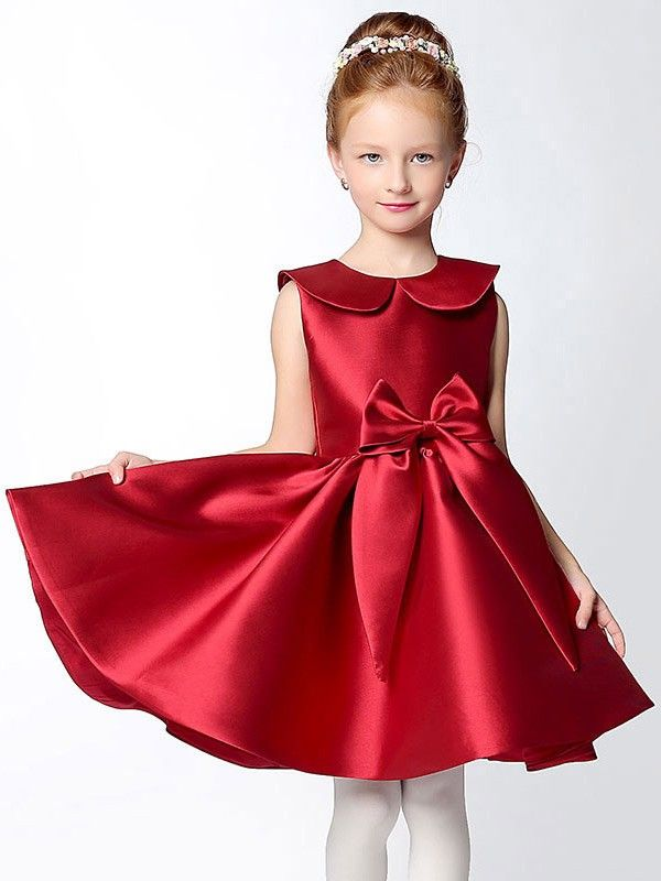 daf1988093d Shop online hot red short a line satin collared flower girl dress with bows  for less. Free Shipping and Custom-made. Pro since 2009.
