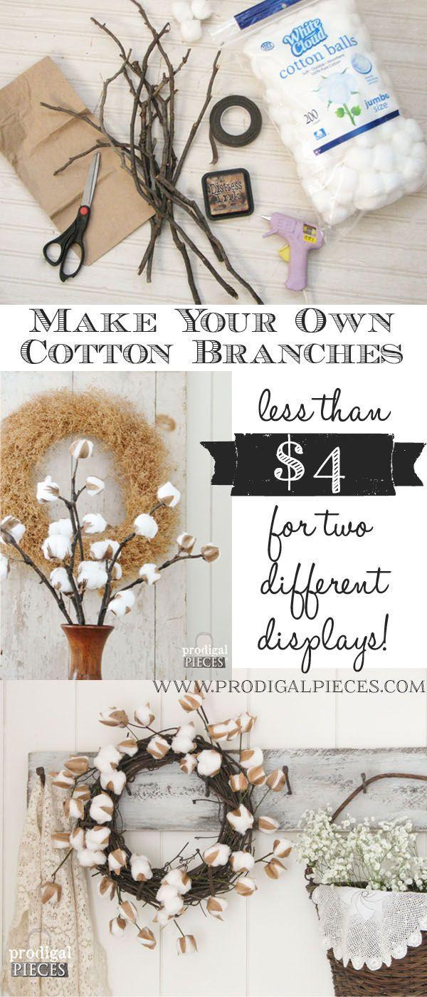 DIY Farmhouse Cotton Branches   A Video Tutorial by Prodigal Pieces www prodigalpieces com  prodigalpieces