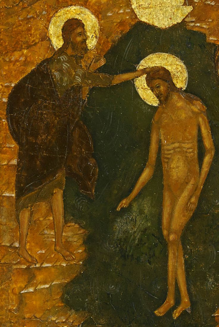 Detailed view: RR012. Baptism of Christ- exhibited at the Temple Gallery, specialists in Russian icons